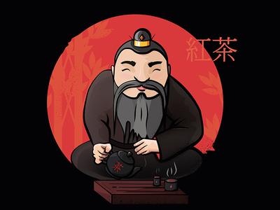 Tea ceremony. Tea asian master (illustration of black tea)