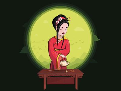 Beautiful japanese girl. Tea ceremony. (green tea)