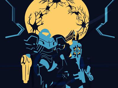 Metroid vector games video poster aran samus metroid