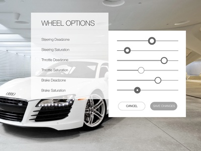 Daily UI #007 - Settings racing wheels white game r8 audi car settings 007 ui daily