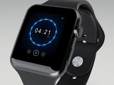Daily UI #014 - Countdown Timer daily photoshop graphics digital blue black time apple watch timer countdown 014 ui