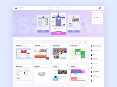 Isoflow Dribbble Scoreboard application winners shots team colorful web ui notification feed scoreboard
