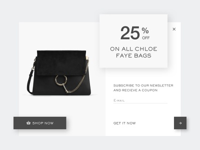 Daily UI #016 - Pop-Up/ Overlay clean web overlap bags discount shop chloe overlay pop-up 016 ui daily