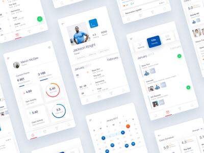 Fitness App dashboard calendar sport graph workout profile ios gym mobile app fitness