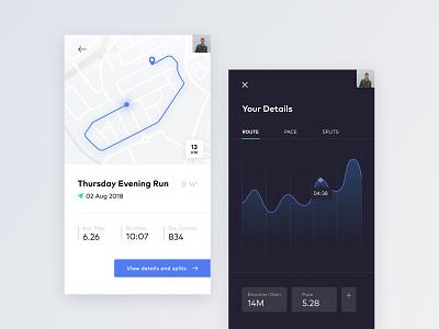 Run App profile 018 dailyui mobile exercises run map chart analytics app