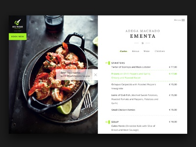 Adega Machado Restaurant Menu design layout clean food menu restaurant ux ui web website