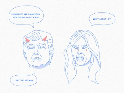 POTUS: One rule for me, one rule for everybody else immigration line drawing design illustration politics election usa donald trump potus