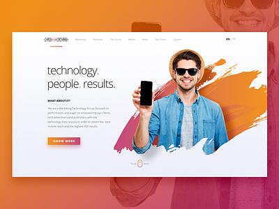 Hero block website desktop marketing monetization web design ui ux