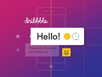 Hello Dribbble! ui gradient hello vector dribbble first shot debut