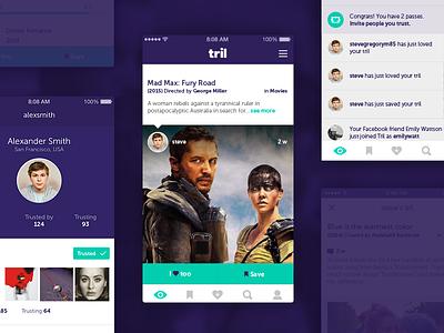Tril App user ui ux trust slider profile movies music filter discover categories app