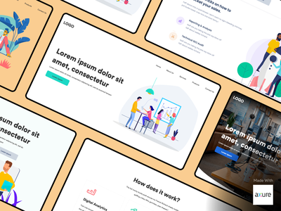 Landing Page with Adaptive view - Created in Axure RP 9 vector landing clean persona illustration design wireframe ui axure