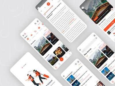 Travel & Story reactjs orange mobile app design mobile design clean ui ux