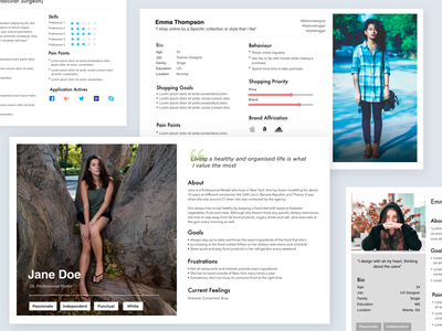 User Persona ui-kit keynote template templates free clean user research ui ux persona card