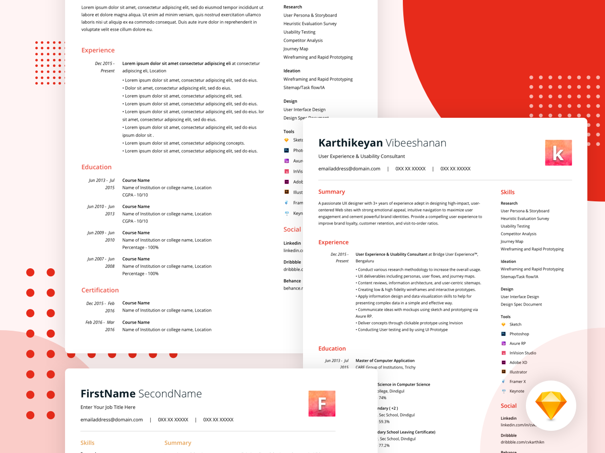 Sketch Resume Template from cdn.dribbble.com