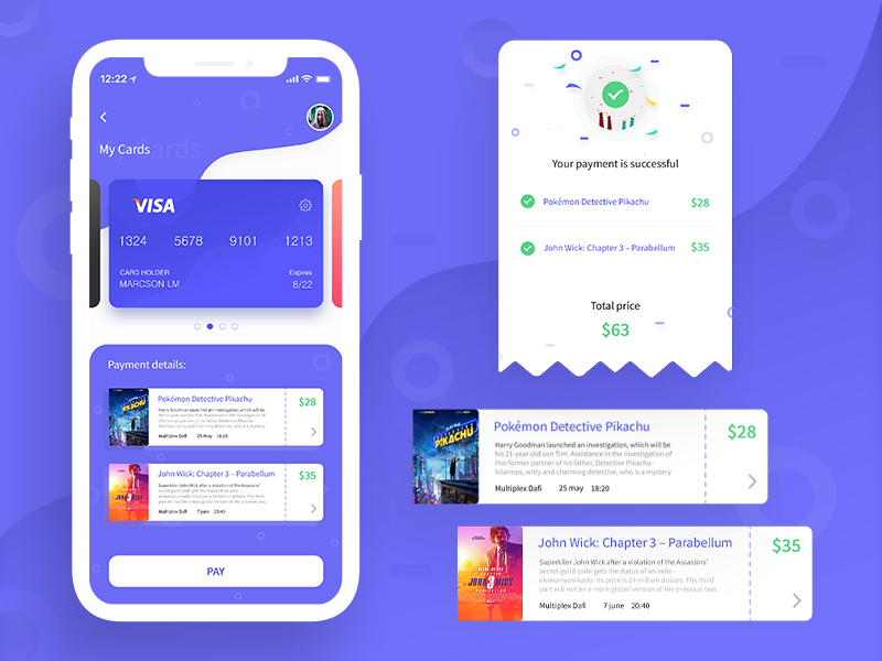Easy way to pay illustration ticket payment card ux mobile minimal flat design vector ui dailyui 002 dailyui app
