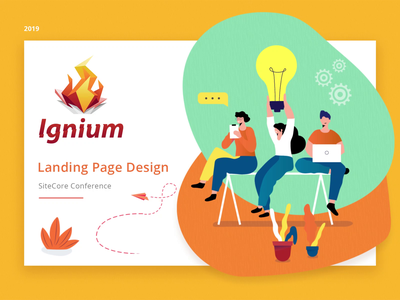 Ignium flat ui design landing page landing green orange yellow ui illustration animation