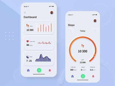 Skeuomorphic Dashboard graphics sleep mobile app ui dashboard ui dashboad step skeumorphism skeuomorphic skeuomorph