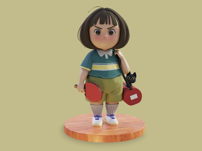 Pingpong Girl neko table tennis pingpong stylized character blender zbrush 3d sculpting sculpting 3d 3d character 3d stylized character