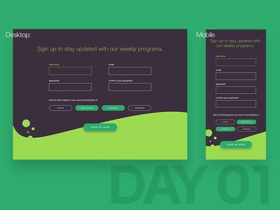 Daily UI - Day 001 form application mobile app web ux ui design up sign