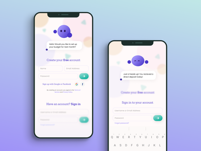 Sign up page for a financial AI assitant app mobile product design ui uidesign dailyuichallenge signup page signup chatbot visualdesign dailyui design