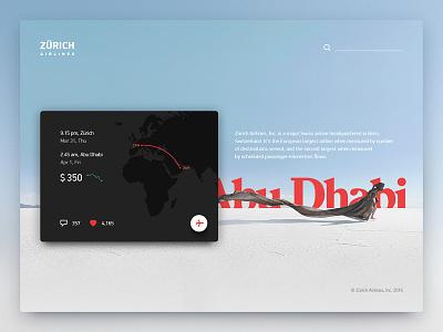 "Web, part 2 — ""Zürich airlines"" fireart studio web design ui travel ticket search map flight fireart design challenge airline"