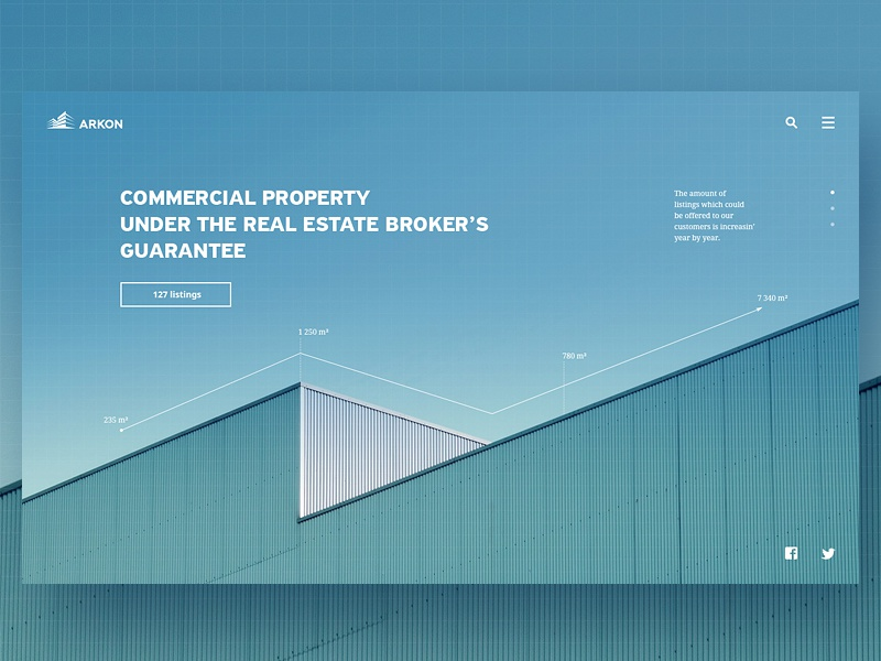 "Web, part 8 — ""Arkon"" web real estate minimal infographics commercial property building blue background"
