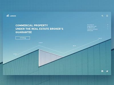 "Web, part 8 — ""Arkon"" web real estate minimal infographics commercial property building blue background"