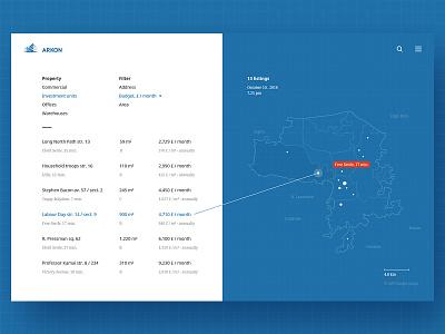 "Maps, part 5 — ""Arkon"" outline web ux ui table real estate map infographics data commercial property"
