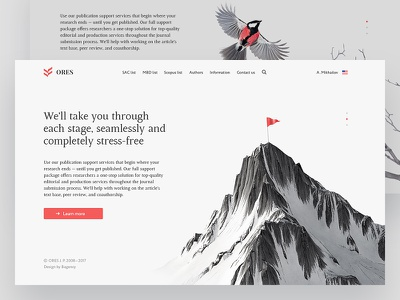 """ORES J. P."" hero page web mountain minimal journal hero flag bird background"