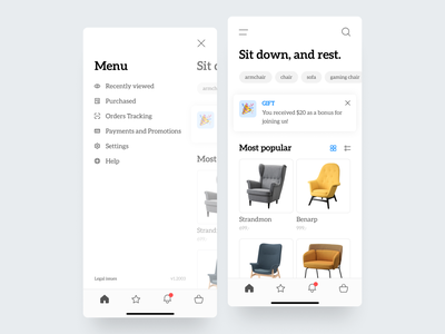 Furniture Ecommerce Application tags products product list homepage gift menu chairs chair furniture ecommerce app blue shop modern flat design application ux ui