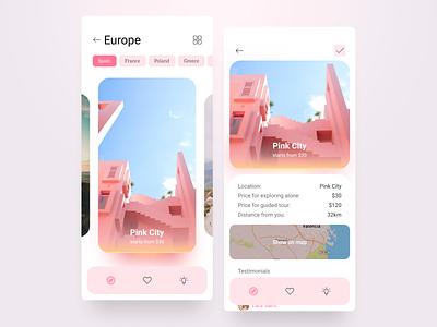 Traveling and Exploring Application tour guided app traveling exploring travel explore covid gradients modern flat design application ux ui