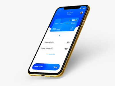 #DailyUI day 2 - Checkout application screen (with card) adobe xd application card checkout banking money interaction swipe gradient white blue ux ui checkout payments debid credit card dailyui