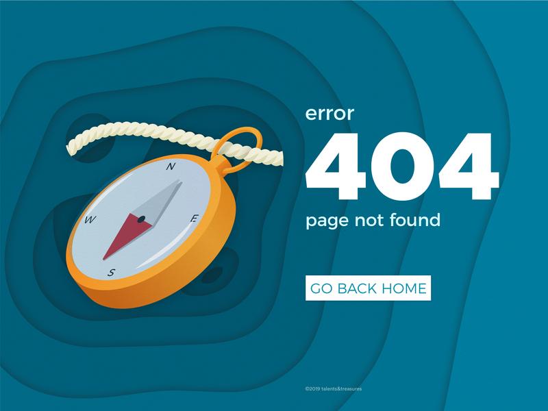 Error Page variation 1 blue error 404 compass