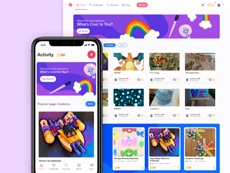 Activity Feed web app create kids design ui activity feed ios