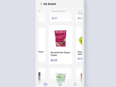 Browse Cart - Reduce Waste prototype principle clean minimal ios sketch app design ux ui