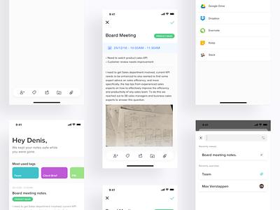 Meeting Notes App simple clean principle minimal ios sketch app design ux ui