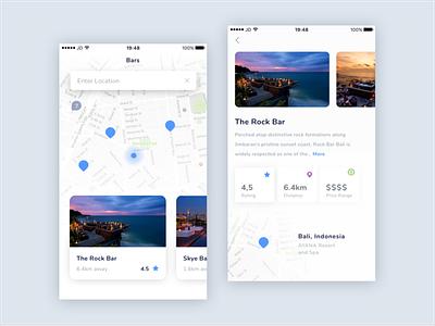 Venues Location App minimal restaurant bar sketch ux ios ui location venues app