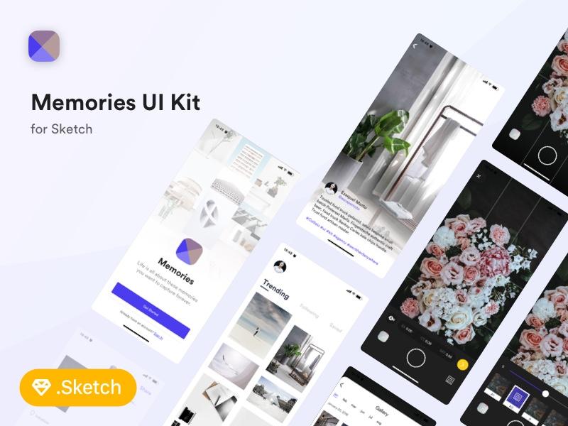 Memories FREE UI Kit for Sketch minimal clean simple app ios 11 iphone x memory photography ui kit sketch free