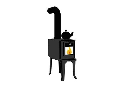 Wood Stove with pipe and humidifier