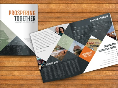 Program for Pacific Baptist Church banquet clean sleek modern magazine brochure church