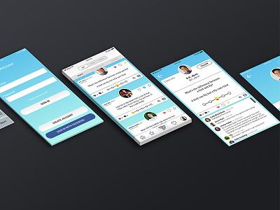 UI Screens for Joke Sharing App media social sharing share jokes joke mobile design app iphone ux ui