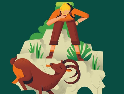 How to get down a Mountain forest editorial illustration hike