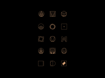 Black & Gold Geometric Logo. Sketches.