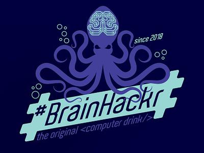#BrainHackr illustration branding vector logo