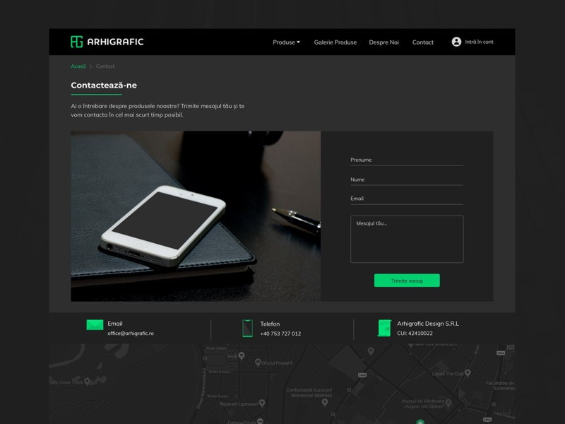 Contact page for Arhigrafic contact page contact dark ui web ui ux design