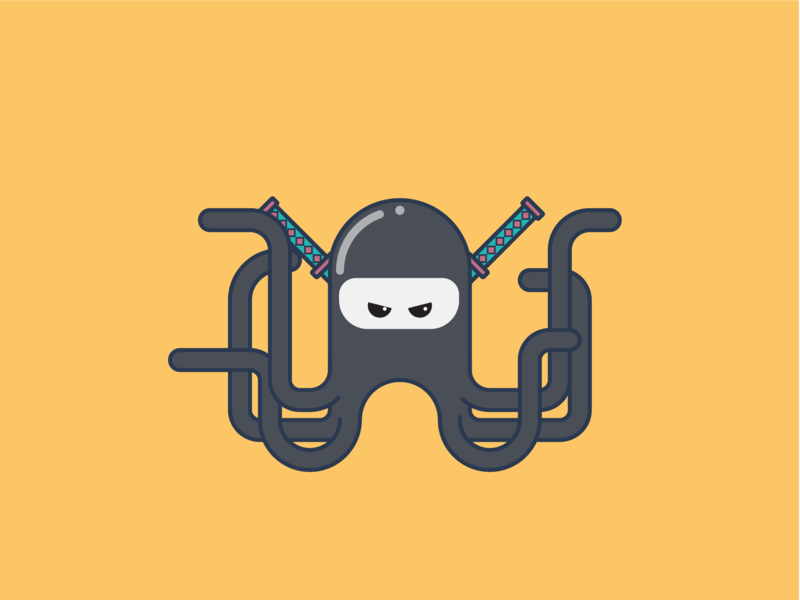 Ninja Pus (Octopus) octopus multitasking tentacle mascot ninja character vector avatar illustration