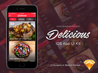 Delicious – Free Sketch UI Kit by Robert Anitei