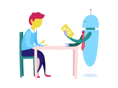 Interview with a robot vector character man meeting interview robot flat illustration