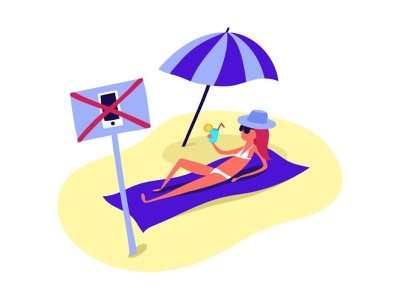 Don't call me ! sun character girl hollidays vacation beach phone flat illustration