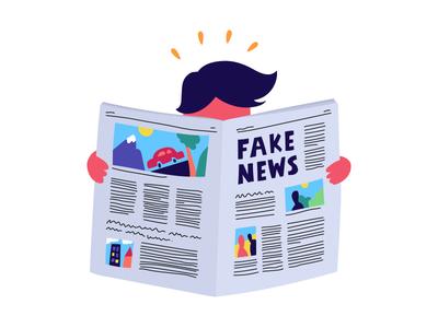 Fake news read character fake newspaper news flat illustration